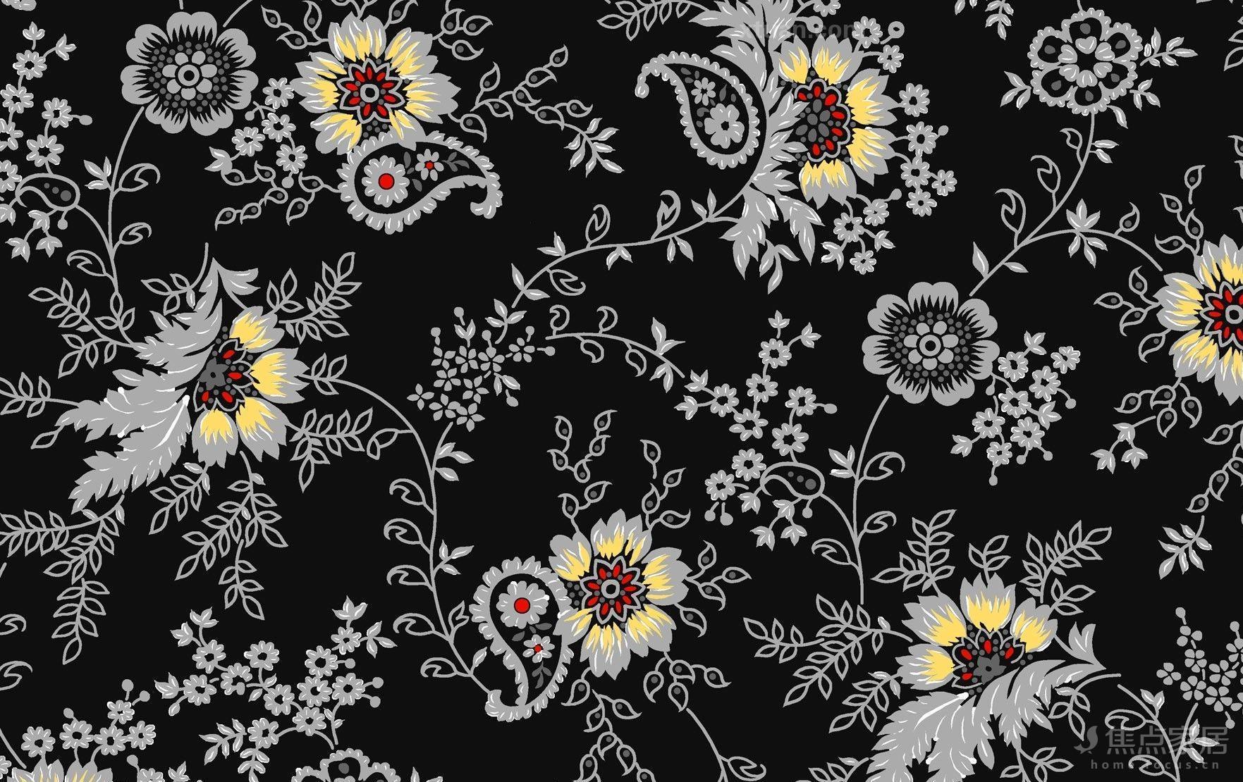——黑色花纹壁纸贴图图片