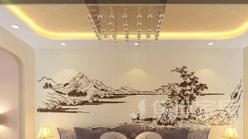 中式硅藻泥電視背景墻 讓你感悟浪漫東方情調