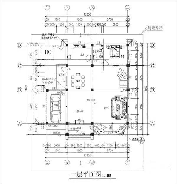 4平米;         户型二:   地基:13m×16m   占地面积:130平方米,总